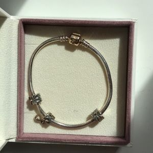 Two tone Pandora bracelet and charms (Swarovski)